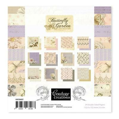 "Couture Creations 'BUTTERFLY GARDEN' 6x6"" Paper Pk 24 Sheets Card Making"