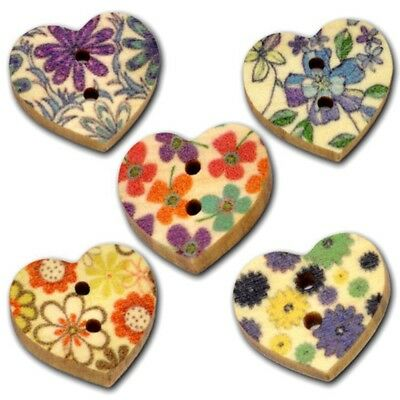 DIY 2 Holes 18mm 100Pcs Colorful Heart Shaped Wood Sewing Scrapbooking Buttons