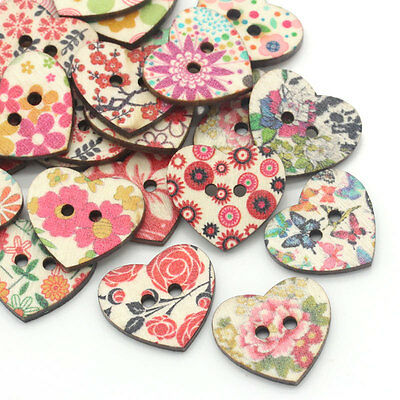 100Pcs 18mm 2 Holes Colorful Heart Shaped Wood Sewing Scrapbooking DIY Buttons