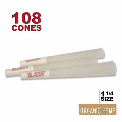 108 RAW Organic 1 1/4 Cones - Pure Hemp 1.25 84mm Pre-Rolled, 26mm Filter Tips