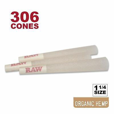306 RAW Organic 1 1/4 Cones - Pure Hemp 1.25 84mm Pre-Rolled, 26mm Filter Tips