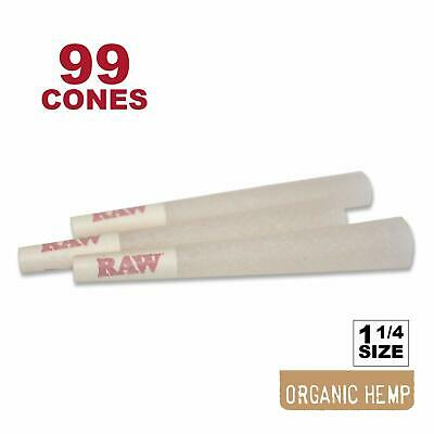 99 RAW Organic 1 1/4 Cones - Pure Hemp 1.25 84mm Pre-Rolled, 26mm Filter Tips