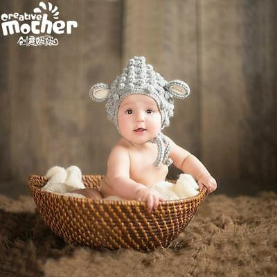 Newborn Baby Props Beanies sheep Costume Knitted Crochet photography props Hat