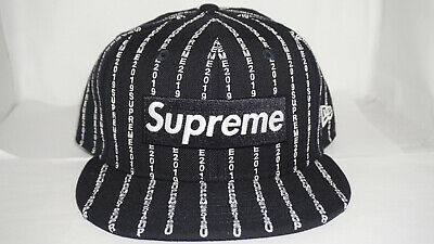 82017481c9b Supreme New Era 59 Fifty Fitted 7 3 4 Navy Text Stripe Box Logo Hat