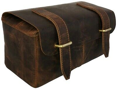 715b40406941 Genuine Buffalo Leather Unisex Toiletry Bag Travel Dopp Kit bag for men and  wome