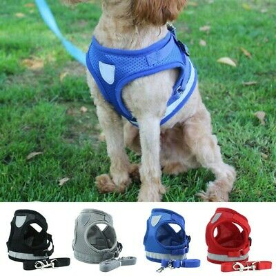 Small Dog Pet Walking Harness and Lead Cat Adjustable Reflective Strap Vest AU