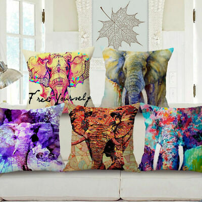 Watercolor Elephant Style Decorative Throw Pillow Case Cover Cushion 18''x18''