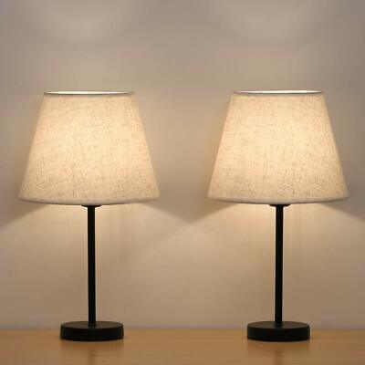 Nightstand Lamps Set of 2 with Fabric Shade Bedside Desk Lamps for Bedroom