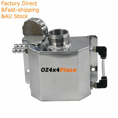 1L Universal Polished Aluminum Coolant Radiator Overflow Recovery Water Tank