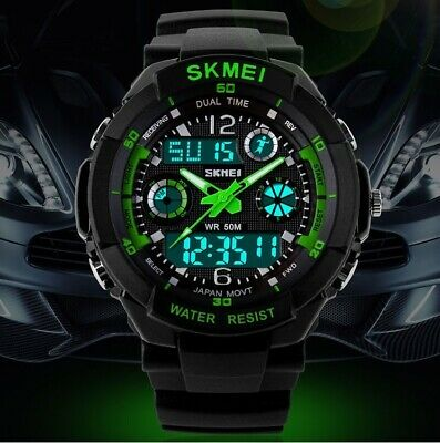 Men's Waterproof Dual Time Analog Digital Military Army Alarm Sports Wrist Watch