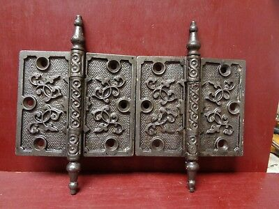 "Antique Super Nice Fancy 4"" X 4 1/2"" Door Hinges More Avail"