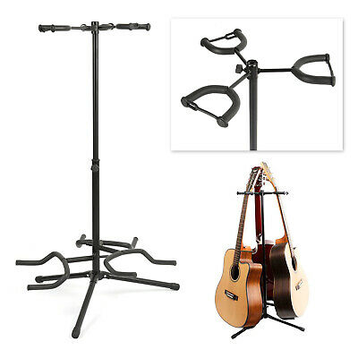 Triple Guitar Stand Adjustable Floor Folding Electric Acoustic Multi