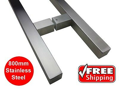 ENTRANCE DOOR HANDLE PULL ENTRY SET SQUARE STAINLESS STEEL 800mm LONG SATIN