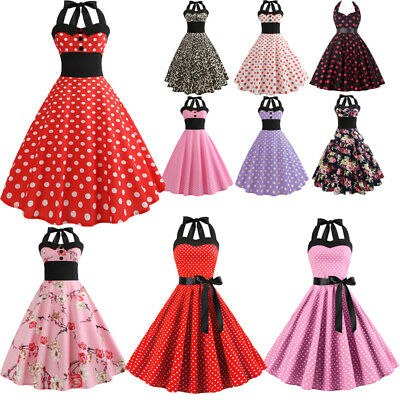 Womens 1950s 60s Vintage Halter Style Rockabilly Evening Prom Swing Dress Plus