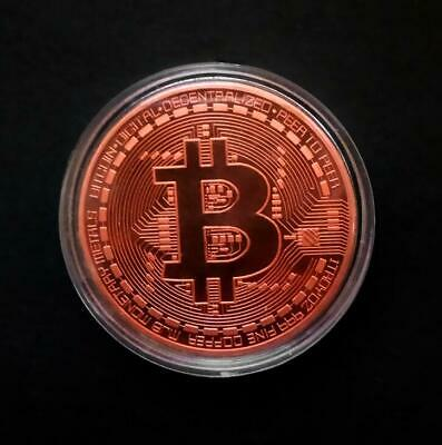 Copper Bitcoin Commemorative Round Collectors Coin Bit Coin is Gold Plated Coins