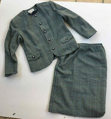 Vintage LUCIA DARLING wool blend tweed check blazer skirt set sz 14 EUC Aust mad