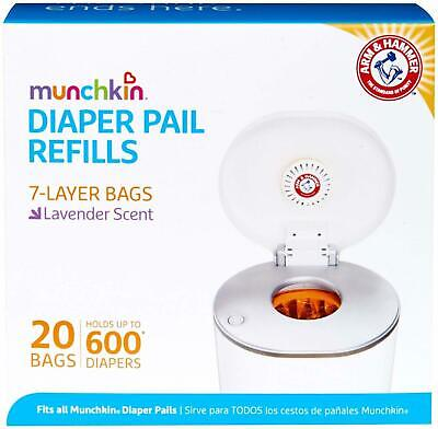 Arm and Hammer Munchkin Diaper Pail Bag Refills 20 Bags Lavender Scented NEW AU