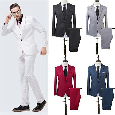 Men Slim Fit Business One Button Formal Two-Piece Suit for Groom Wedding Delu