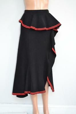 Givenchy Black Wool Ruffle Red Stripe Trim Skirt Size 42