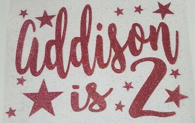 Glitter iron on transfer birthday number/name in 17 colours with stars 15cmx11cm