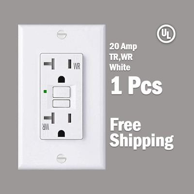 20 AMP GFCI White Receptacle Outlet -TR & WR SELF TEST 2015 UL