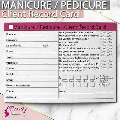 Nail Pedicure Manicure NEW Client Record Card Treatment Consultation Salons A6