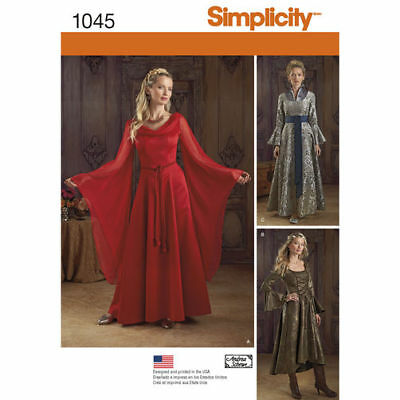 SEWING PATTERN Simplicity 1045 MEDIEVAL GAME THRONES RENAISSANCE Costume 14-20