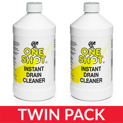 2 x One Shot Drain Cleaner 1 Litre Bottles - Twin Pack