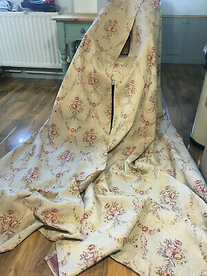 """Divine Pair Of French Antique Chateau Chic Portiere Curtains Roses 102"""" Drop"""