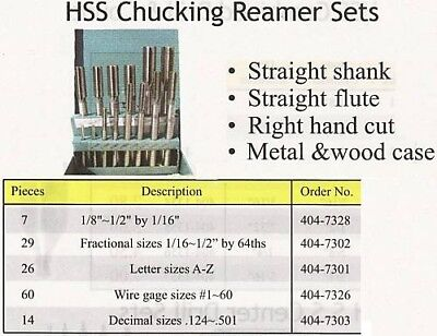 HSS Letter sizes A to Z 26pc//set Chucking Reamers part#515-26--New