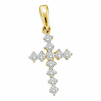 14kt Yellow Gold Womens Round Diamond Cross Faith Pendant 1/10 Cttw
