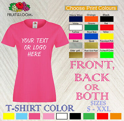 Personalised Women Printing Custom Text Logo T-Shirt Stag Hen Staff Party lady
