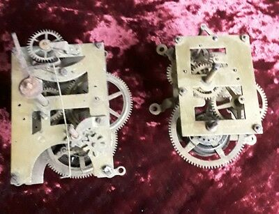 2 Antique American Wall Clock Movements -  Spares or Repair