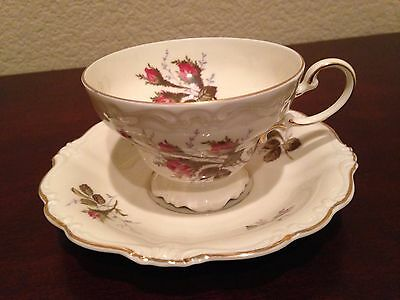 Gorgeous Vintage ROSENTHAL MOSS ROSE POMPADOUR footed cup & saucer set MINT!