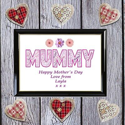 Personalised Word Art Mothers Day Mummy Mum Nanny Auntie Gift Collage Image Love