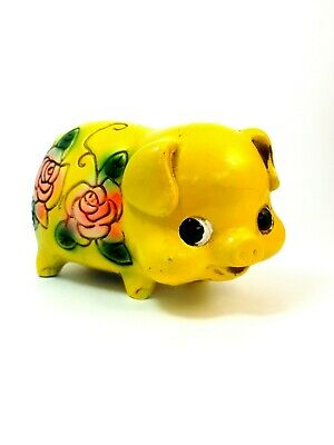 Vtg 1960s psychedelic pig Piggy Bank Chalkware yellow rose Paper Mache japan