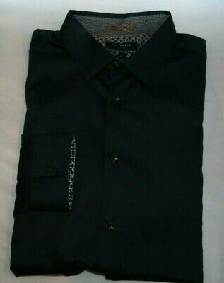 8c3212907 Ted Baker Plain 5 Stretch Shirt Xl Navy Mens Button Down New With Tags  116.00