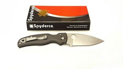 Spyderco Shaman G10 Black Folding Pocket Knife, Plain Blade - C229GP