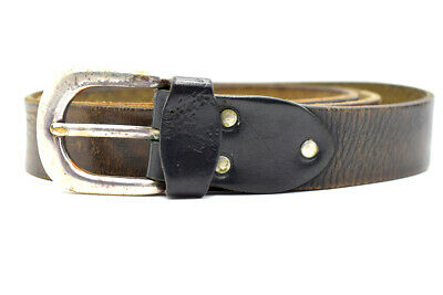 Vintage Handmade Mens Real Leather Belt Black Brown Size 36