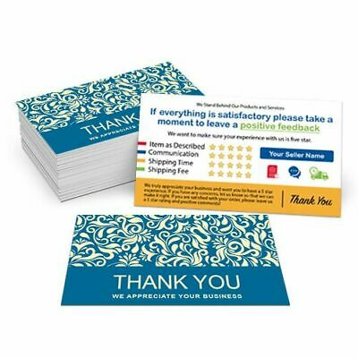 500 Custom Printed eBay Etsy Seller ID Thank You Cards w/Your USER ID Floral Blu