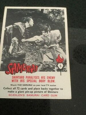 Scanlens Samurai Collector Card # 5 Good Collection From 1964. Excellent Cond