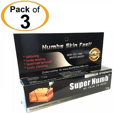 3 X 30g Super Numb skin numbing cream painless piercings waxing laser sex Dr