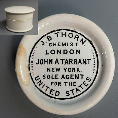 Antique 1700s JB Thorn Chemist Porcelain Tooth Powder Pot & Lid John Tarrant NY