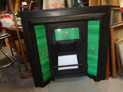 Victorian cast iron green tiled fireplace insert