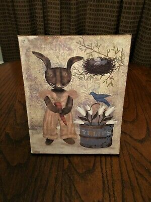 ~*Primitive Spring~Brown Bunny With Tulips~Canvas Print*~