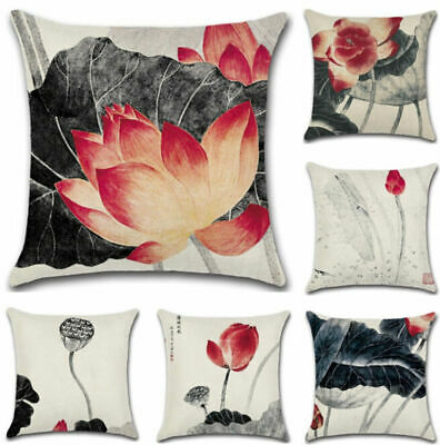 """18"""" Oriental Chinese Style Lotus Throw Pillow Case Cushion Covers Car Home Decor"""