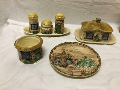 Vintage SYLVA CERAMICS English Thatched Country Cottage Serving Pieces Misc Lot