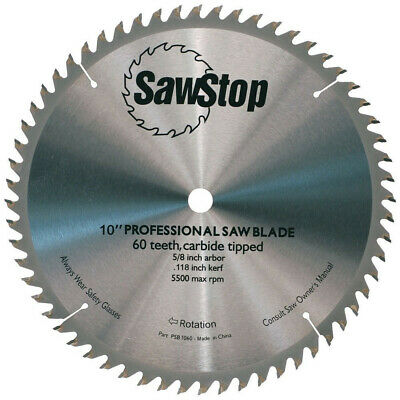 SawStop CB104-184 10 in. Carbide Tipped 60-ToothCombination Table Saw Blade New