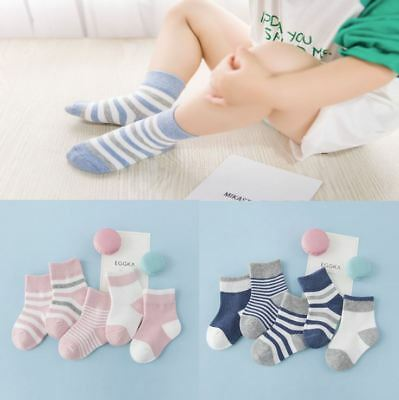5 Pack Baby Boy Girl Pack Cotton Fashion Socks Striped Mix Warm Baby Socks Set