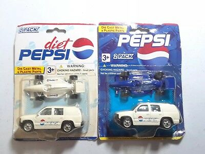 Golden Wheels Pepsi & Diet Pepsi DIE CAST AND PLASTIC PARTS 2 CAR SET (2)